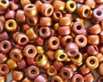 Glass Pony Beads / Crow Beads - 9mm - Multi Bronze - Pack 20