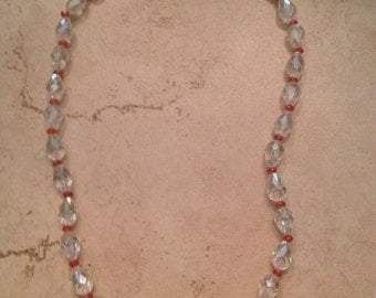 Vintage Crystal Necklace Clear and Red Costume Jewelry