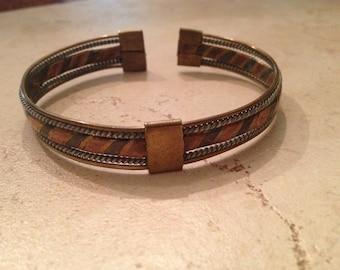 Vintage Copper Brass Bracelet Cuff Boho Persian Jewelry
