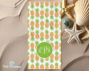 Custom Monogrammed Beach Towel Pineapples on White Towel (2057w)