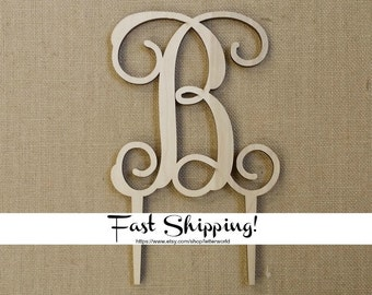 Wooden Initial Cake Topper - Unfinished Vine Script Initial Cake Topper - Wedding Cake Decor - Initial Cake Topper - Personalized Topper