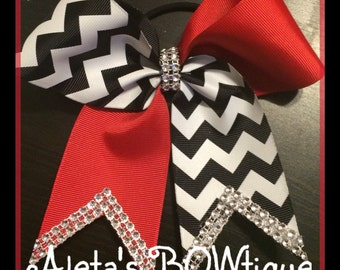 Red, black and white chevron tic tock cheer bow with Bling!