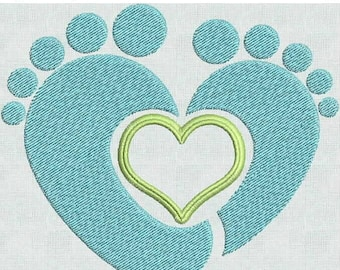 Instant Download Machine Embroidery Designs Baby Feet Heart 2 sizes PES Format Exclusive
