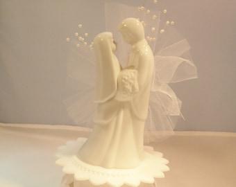 Wedding, Bridal Bride and Groom Porcelain Cake Topper Vintage