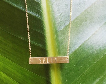 SALTY Hand Stamped 14k Gold Filled or Sterling Silver Horizontal Bar Necklace With Chain