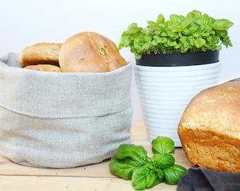 Linen storage/bread basket - Natural beige linen storage / bread bag