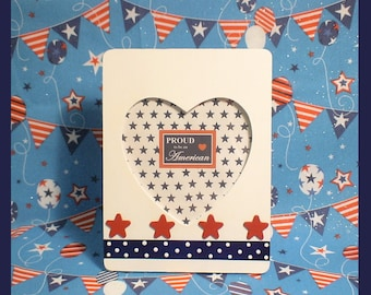 """4th of July Picture Frame - Patriotic Photo Frame - Red White and Blue Heart Frame - """"Star Spangled Banner"""""""