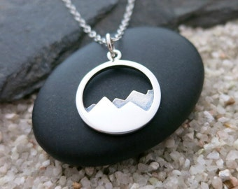 Mountain Necklace, Sterling Silver Mountain Range Charm, Nature Jewelry