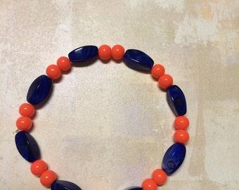 Blue and orange stretch bracelet