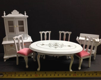 Miniature Dollhouse Furniture Wood White and Pink Dining Table w/ Cabinet 7pcs