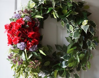 Summer Wreath Large Door Wreath Red Roses Wreath 32 inches