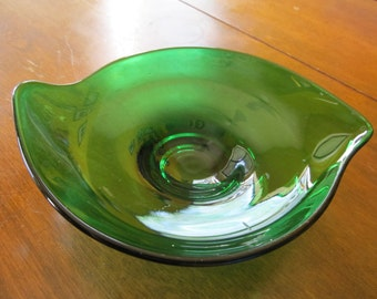 Unusual Green Vintage Glass Dish