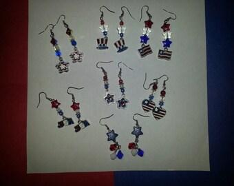 4th of July Jewelry (Necklace,Bracelets,Earrings,Key chain)