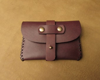 Card holder belt brown leather chocolate