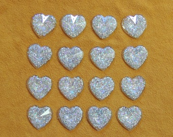 25mm = 1 inch Glitter resin sew on hearts