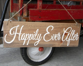 "Wedding Wood sign - ""Happily Ever After""  Handpainted Sign - Ring Bearer's Sign- Rustic, Country Wedding Decor, Photo Prop"