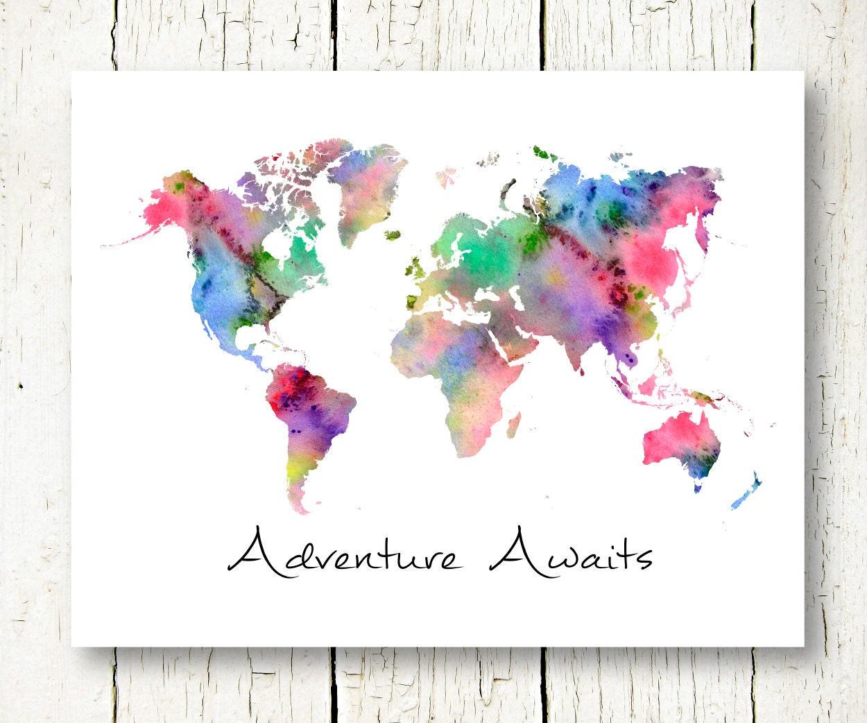 world map watercolor download adventure awaits printable