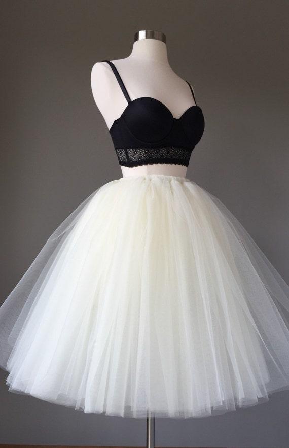 Light ivory tulle skirt adult tutu 8 layer tulle skirt for How to make a long tulle skirt for wedding dress