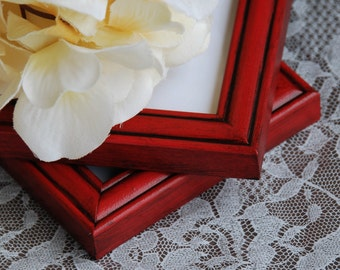 Rustic 3x3 picture frames: Set of 2 small square vintage country cottage chic red hand-painted wooden wall collage gallery photo frames