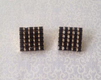 Vintage S.A.L. Squared gold tone black rhinestone clip earrings