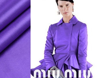 140cm wide purple solid color dupioni silk fabric for dress jacket by meter