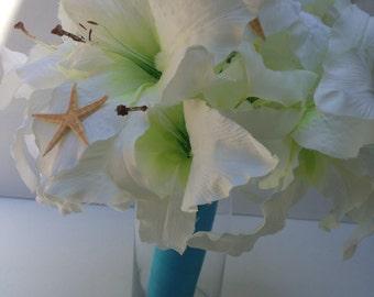 White Lily Bouquet-Bridal Bouquet-Beach Wedding-Starfish Bouquet-Coastal Bouquet-Coastal Wedding-Garden Wedding Bouquet-Lily Bouquet