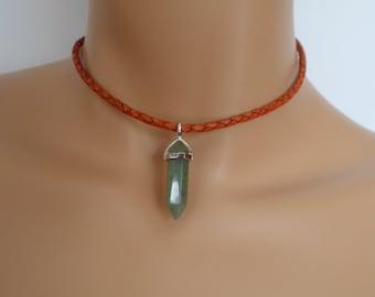 leather choker, braided leather, gaventurine quartz, silver tulip charm, green pendulum