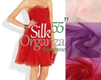 Red organza. Silk Organza. Pink Organza. Wedding Fabric. SOB100005
