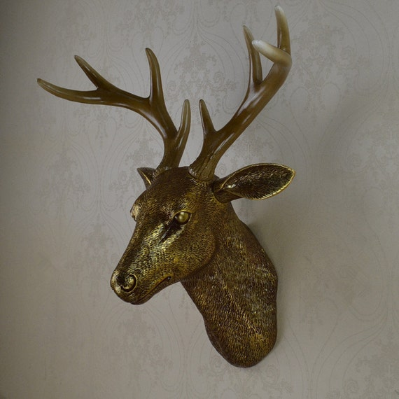 Antique Gold Faux Deer Head Wall Decor Wall By