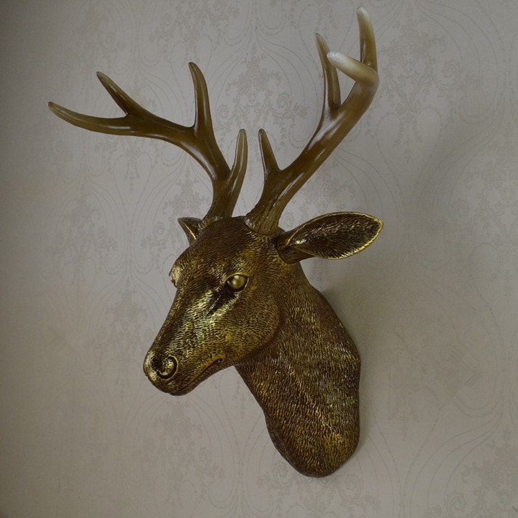 Antique gold faux deer head wall decor wall by for Animal head wall decoration