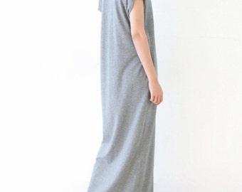 Cotton Knitting Maxi Dress,Short Sleeve Long Dress Tunic,Soft Party Dress,Gray