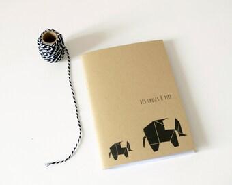 Notebook Elephant Origami / Journal / Diary / Kraft book paper