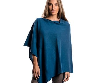 Teal Blue 100% Cashmere Poncho
