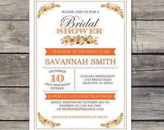 WE PRINT Fall Bridal Shower Invitation - Autumn Floral Bridal Shower Invitation - October - Orange and Brown 137