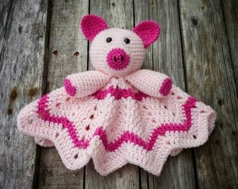 Crochet Stuffed Pig Lovey Ripple 12 Point Afghan Pink Piggy Piggie Mini Blanket Photography Prop