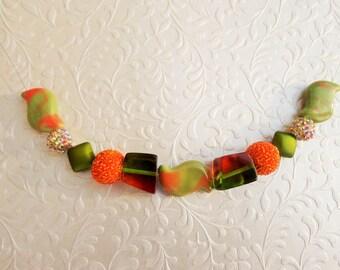 Light Olive Green & Orange Ceramic Acrylic Bead Strand Mix