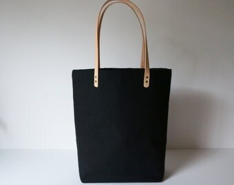 Black Canvas Tote with Leather Straps