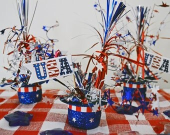 Patriotic Top Hats 4th Of July Table Decoration Set Of 3