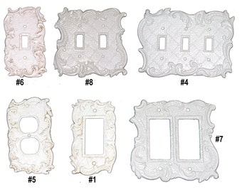 Metal Switch Plates, Rocker Plates and Outlet Covers Shabby Chic styles in many colors