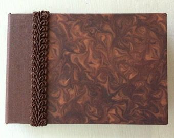 Mini Handbound Brown Journal with Decorative Paper & Ribbon
