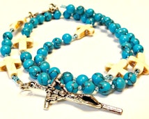 Turquoise Rosary, Blue Rosary, Handmade Catholic Rosary, Confirmation Gift, St. George Rosary, Prayer Beads, Rosary for Mother