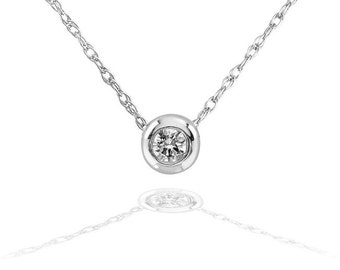 "Tiny Diamond Solitaire Bezel Necklace in 14k Gold (18"" Chain)"