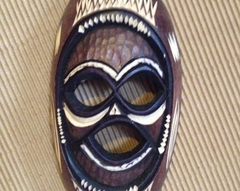 FREE SHIPPING - Hand Carved African Mask in Frame
