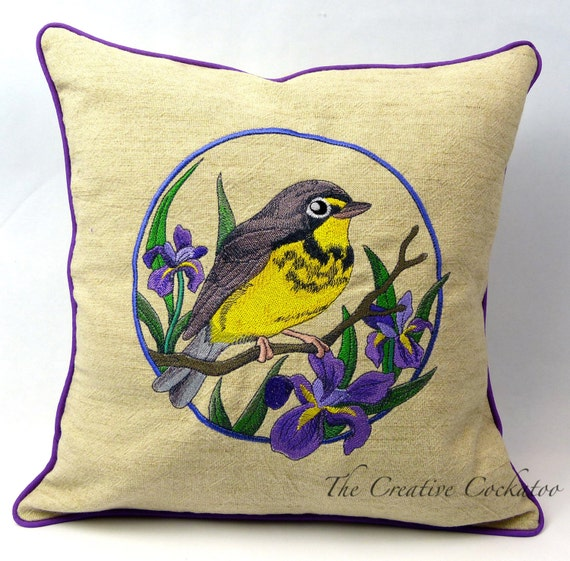 Canada warbler embroidered throw pillow cover bird