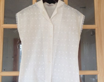 1970s White Pin Hole Lace Button Up Blouse