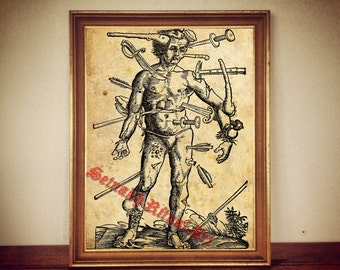 Wounds - anatomy of man Hannibal  | print illustration poster | occult antique vintage home decor |129