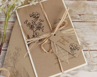 Kraft Paper Rustic Wedding Day Invitation with Real Boho Dried Leaf and Tag Personalisation & Complimentary Kraft Fitted Envelopes