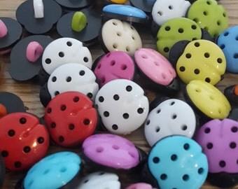 10 Ladybird Plastic Buttons