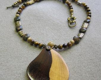 Yin Yang Desert Ironwood Pendant Beaded Necklace Exotic Wood ExoticWoodJewelryAnd Ecofriendly repurposed