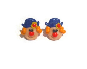 Polymer clay glazed clown Earrings quirky earrings cute earrings unusual earrings different earrings groovy earrings funky earrings